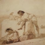 Brulloff Karl (1799 - 1852)  At noon  Paper, sepia, 1851-1852  22.1x18.8 см  The Tretyakov Gallery, Moscow, Russia